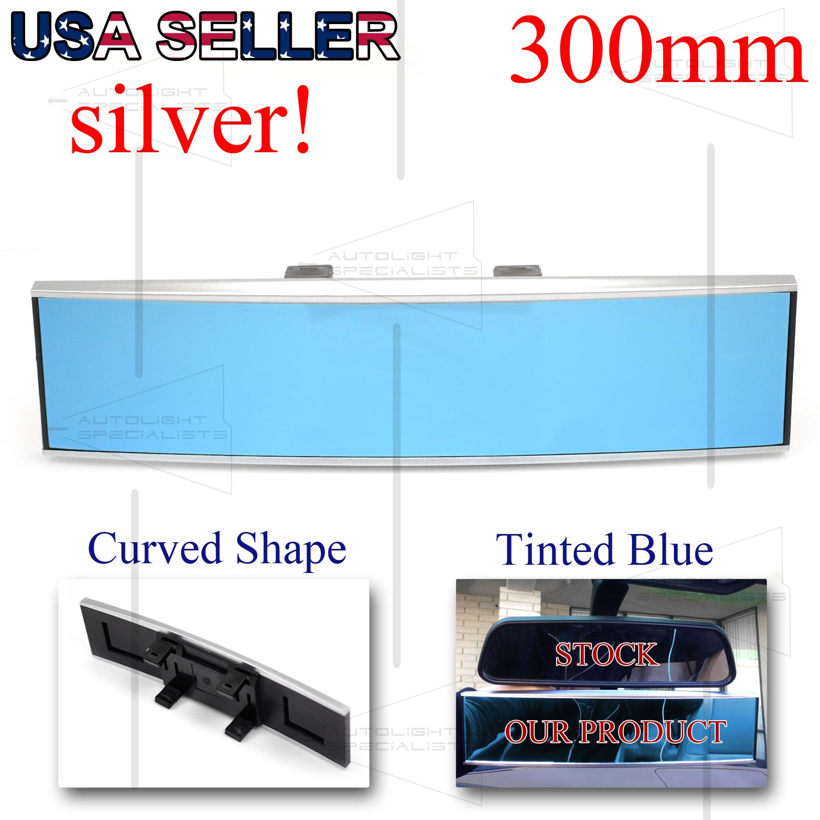 for euro cars 290mm convex interior rear view mirror silver long shape blue tint ebay. Black Bedroom Furniture Sets. Home Design Ideas